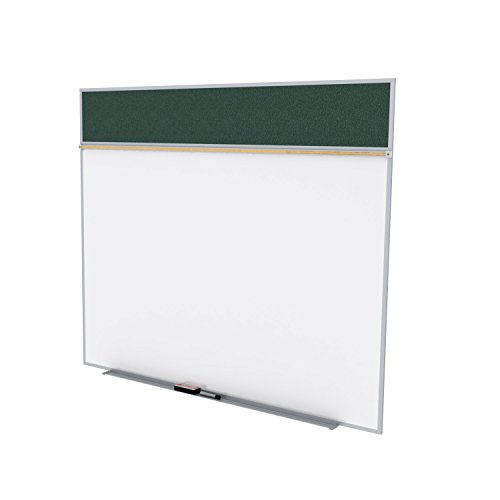 Ghent 5 x 10 Feet Combination Board, Porcelain Magnetic Whiteboard and Vinyl Fabric Bulletin Board, Ebony , Made in the USA by Ghent