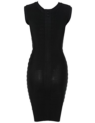 Meilun Bandage Détail Métal Femmes Robe Moulante Noire
