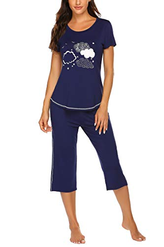 - Ekouaer Women's Pajama Sets Capri Pants with Short Sleeve Tops Cotton Round-Neck Sleepwear Ladies Sleep Sets