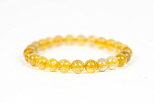 Golden Rutilated Quartz Bracelet, Genuine Gemstone Bracelet ()