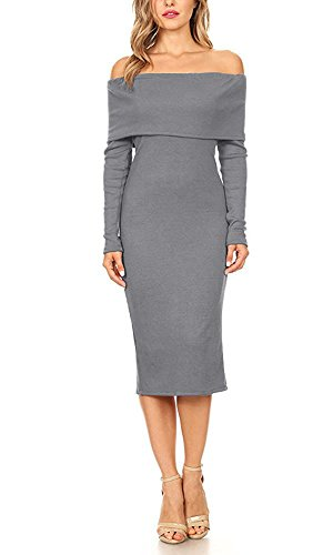 Doramode Off Shoulder Shawl Bandeau Long Sleeve Ruched Wrap Fitted Stretch Knee-length Solid Color Sexy Go Out Clubbing Dresses Grey X-large For (Ruched Shawl)