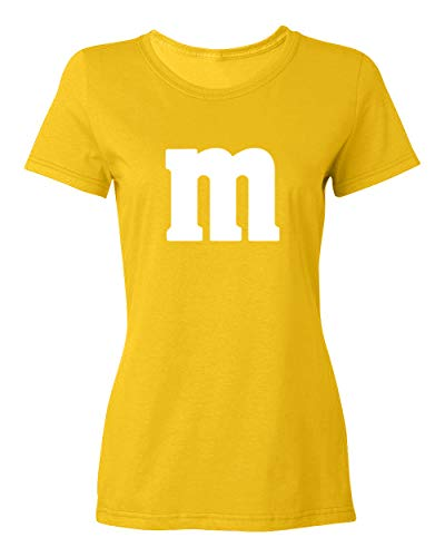 KING THREADS M Halloween Ladies Tee Team Costume Funny Party Women's T-Shirt (Yellow, ()