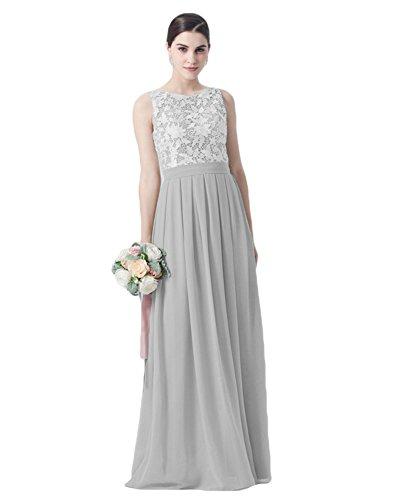 Liyuke Elegant Lace Top Bridesmaid Dress Long Chiffon Sleeveless ...