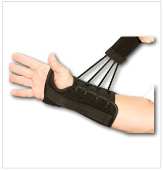 Lace Wrist Splint - 8 inch Wrist Lacer Support, Black, Right Large