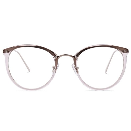 Amomoma Fashion Round Eyewear Frame Eyeglasses Optical Frame Clear Lens Glasses AM5001 (C10 Transparent Grey/Silver, - Eyeglasses For Your Shape Face