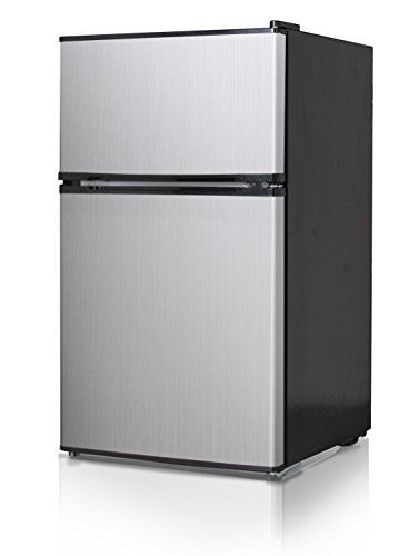 Price comparison product image Midea WHD-125FSS1 Compact Refrigerator, Black with Stainless Steel Doors, 3.4 cu. ft.