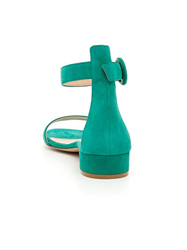 Alla Fibbia Sandali Elashe Appartamenti Caviglia 2cm Donna Tacco Con Aperti Verde Estivi Basso Piatti YfY4a