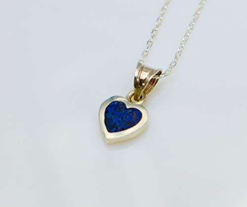 Pendant Mosaic Necklace - Handmade Tiny Lapis Lazuli Heart-shaped Sterling Silver Mosaic Pendant Necklace 16.1'' to 17.7 inches Adjustable Chain, Semi Precious Stone by Handmade Studio