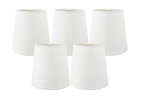 Fabric Chandelier Lamp - Meriville Set of 5 Off White Linen Clip On Chandelier Lamp Shades, 3.5-inch by 4.5-inch by 4.5-inch