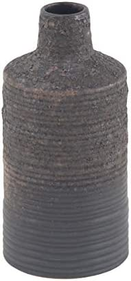 Deco 79 Rustic Ceramic Ribbed Bottle Vase, 5 W X 11 H, Dark Gray