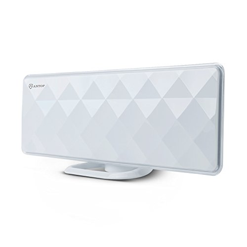 ANTOP Indoor TV Antenna Indoor Flat 50 Miles Antenna with Exclusive Amplifier Booster, 4G Filter for Noise-Free, Multi-Directional Reception, 10 ft Coaxial Cable, Diamond-Cut Surface, White(AT-201B)