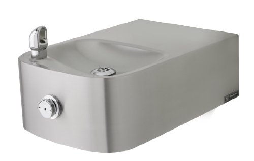 Haws 1109.14 Satin Finish Heavy Duty 14 Gauge 304 Stainless Steel Barrier-Free Wall Mounted Drinking Fountain with Single Bubbler (Mounting Frame Not Included) by Haws