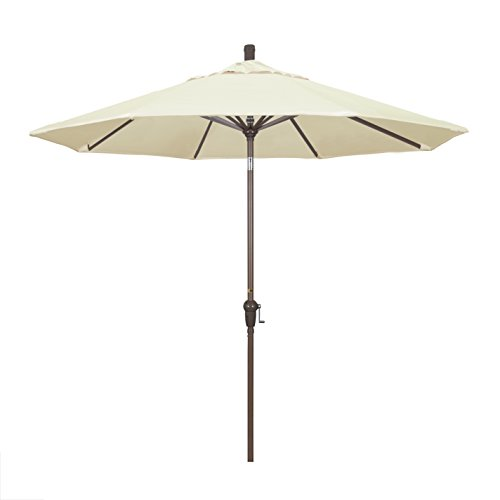 California Umbrella 9' Round Aluminum Market Umbrella, Crank Lift, Auto Tilt, Champagne Pole, Sunbrella Canvas
