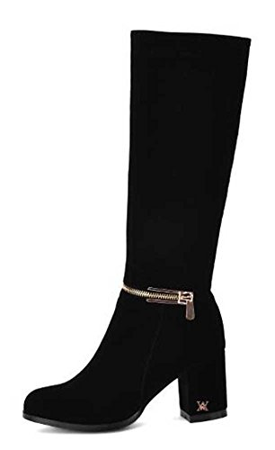 CHFSO Womens Stylish Solid Round Toe Mid Chunky Heel Knee High Knight Boots Black f1YZX