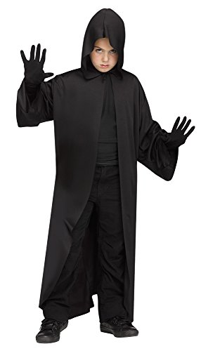 Fun World Kid's Hooded Robe Childs Jedi Cloak Halloween Costume Childrens Costume, Black, Large ()
