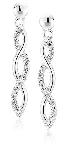 Vir Jewels 1/4 cttw Diamond Infinity Earrings 10K White Gold 1 Inch (10k Gold Diamond Earrings)