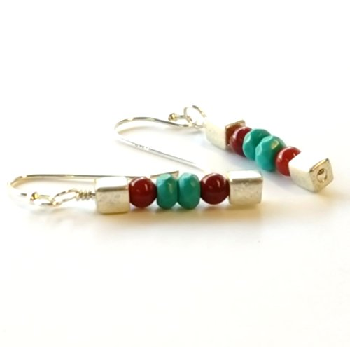 Shimmering Chic Sleeping Beauty Turquoise and Bamboo Coral Drop Earrings