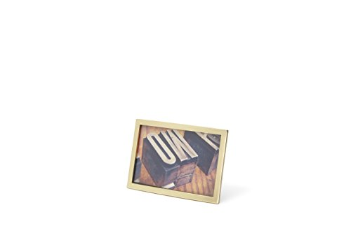 Umbra Senza Metal Picture Frame, Unique 4 x 6 Photo Display, Matte Brass