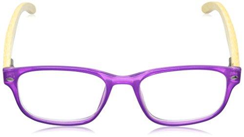 Peepers Women's Bravo Bamboo 137175 Rectangular Readers, Purple, 1.75