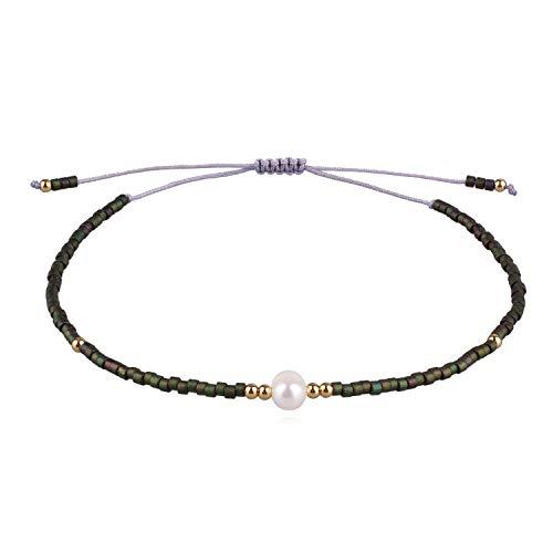 - KELITCH Shell Pearl Strand Bracelet Handmade Bohe Seed Beads String Charm Bracelets Friendship Bangle for Girls (Green Forest J)