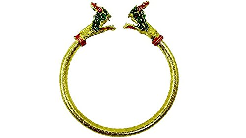 Brass bracelets naga green snake thai traditional good lu...