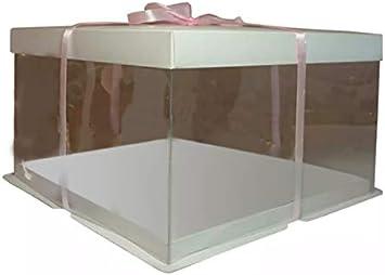 Cajas de almacenamiento para tartas de PVC transparente con tapa, 30 x 30 x 25 cm: Amazon.es: Hogar