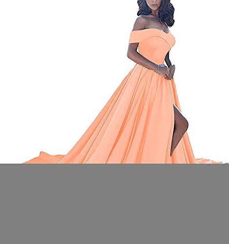 Prom Dresses Long Split Off Shoulder Wedding Evening Dress A line Satin Formal Ball Gown Blush-14 Size