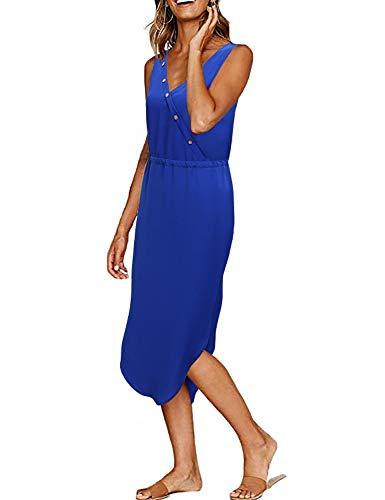 MOQIVGI Empire Waist Dress,Ladies Casual Summer Vneck Surplice Slit Midi Length Curved Hem Trapeze Flattering Woman Blue Chiffon Dresses for Work XX-Large ()