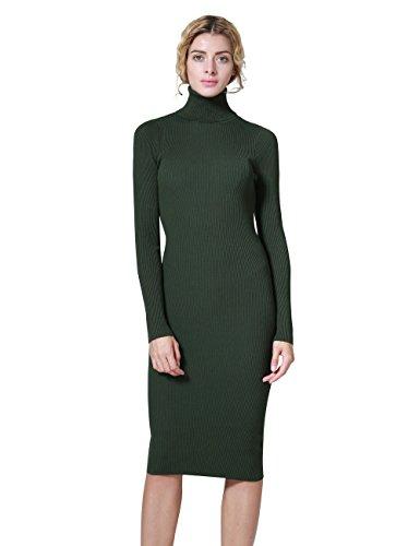 (ninovino Women's Knit Sweater Dress Turtleneck Ribbed Long Sleeve Bodycon Midi Dress Green-XL)