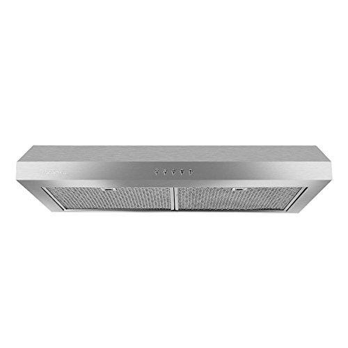 "Robanku 30"" Under Cabinet Range Hood, 350CFM Stainless Steel Wall-Mounted Kitchen Range Hood Vent Cooking Fan with Aluminum Filters and LED Lighting"