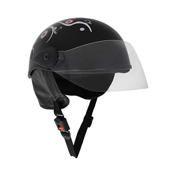 Sage Square Scooty Half Helmet for Men, Women (Large, Black Glossy Sticker Design 1)