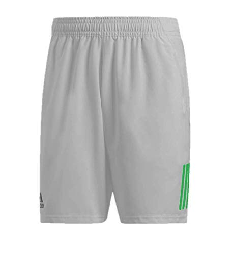 adidas Men's Club 3-Stripes 9-Inch Tennis Shorts, Grey/Glow Green, XX-Large by adidas (Image #1)