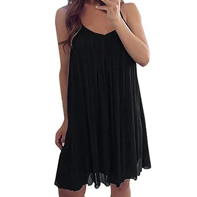 PASATO Women Summer Casual Sleeveless Long Sleeve Mini Plain Chiffon Vest Casual Loose Mini Dress