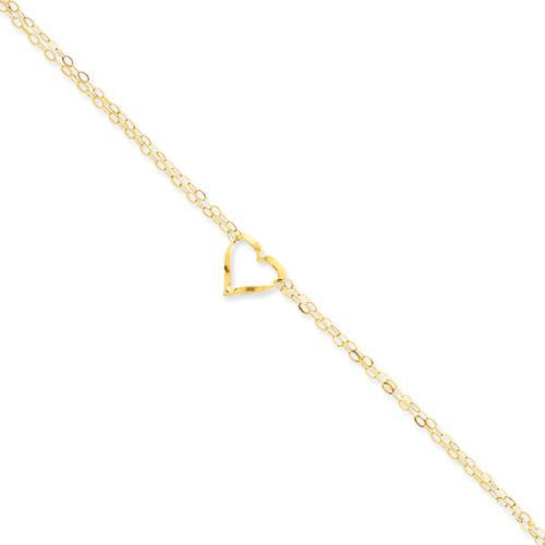 Black Bow Jewelry 14k Yellow Gold Open Heart Double Strand Anklet, 9-10 ()