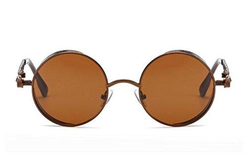 métal Lunettes en soleil vintage Brun UV400 Bronze steampunk Worclub rondes style steampunk lunettes de cadre RadnqxU