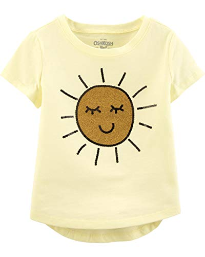 Osh Kosh Girls' Toddler Sequin Short-Sleeve T-Shirt, Sun Glitter, 2T