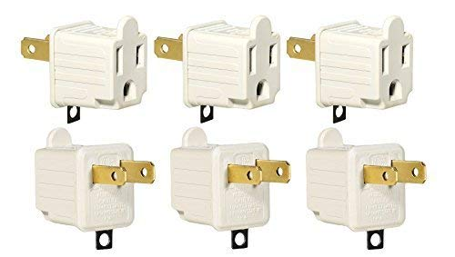 (3-Prong to 2-Prong Adapter Grounding Converter 3 Pin to 2 Pin Power AC Ground Lifter For wall Outlets Plugs, Electrical, Household, Workshops, Industrial, Machinery, And Appliances, 6-Piece.)