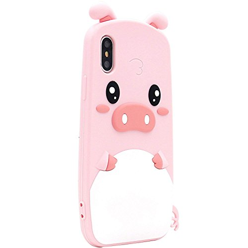 for iPhone XS Rubber Case, Pig Case for iPhone X, SevenPanda Soft Silicone Gel 3D Cartoon Cute Case Shockproof Protective Soft Cover for iPhone 10 Hot Gift Girl Teenager Kids - Pink