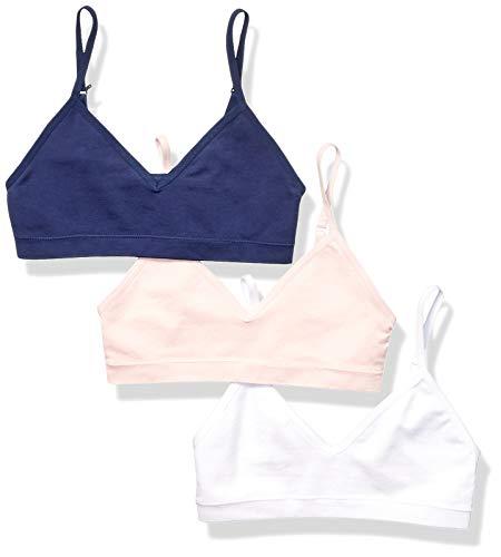 (Amazon Essentials Girls' 3-Pack Seamless Training Bra, Pink/White/Navy)