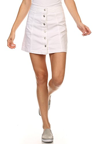 MeshMe Womens JoMelissa - White High Waist Bull Denim Jeans Button Down Up A-Line Basic Casual Essential Hi Waisted Short Skirts Cute Mini Jean Pencil Wrap Mid Rise Versatile Skater Skirt Medium (Rise Denim Pencil Skirts)