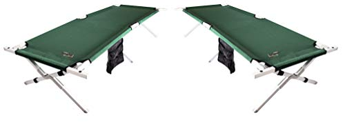 (BYER OF MAINE, Military Cot, Folding Cot, Reinforced Aluminum/Steel Frame, Extra Large Size, Holds 375lbs, Two Pack)