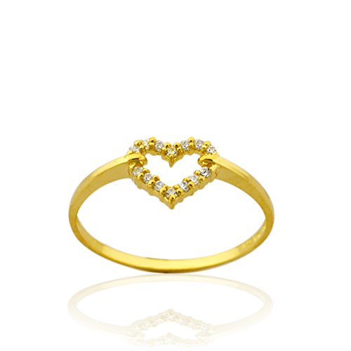 Gold Open Heart Ring (10k Yellow Gold Open Heart Ring with Cz)