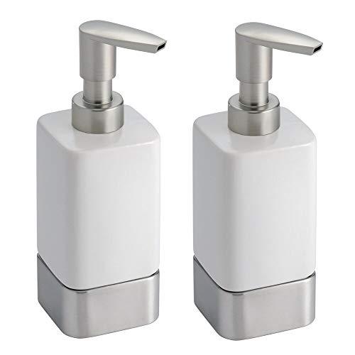 mDesign Square Ceramic Refillable Liquid Soap Dispenser Pump Bottle for Bathroom Vanity Countertop, Kitchen Sink - Holds Hand Soap, Dish Soap, Hand Sanitizer, Essential Oil - 2 Pack - White/Brushed