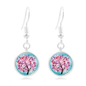 - 1set Whimsical Tree Tibet Silver Dome Photo 16MM Glass Cabochon Long Earrings
