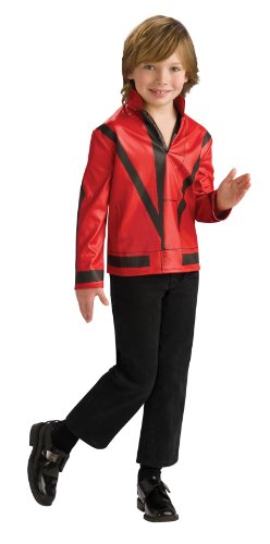 [Michael Jackson Child's Red Thriller Jacket Costume Accessory, Medium] (Thriller Video Costumes)