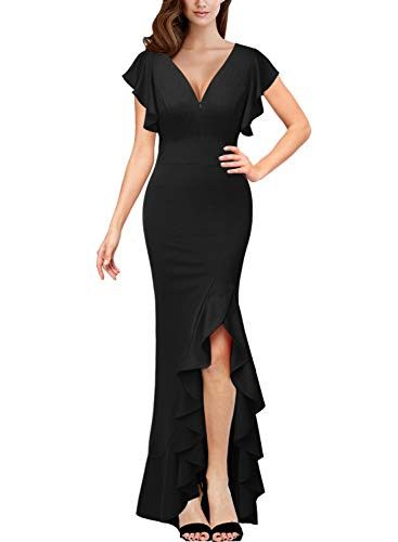 VFSHOW Womens Black Ruffles Ruched Frill Sleeves Formal Evening Prom Party Maxi Dress 2062 BLK XS ()