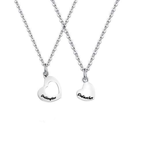 Godmother Heart (FUSTMW Goddaughter Necklace Godmother in Heart Matching Necklace Set Goddaughter Baptism Gift Religious Jewelry for Godmother (Necklace Set))