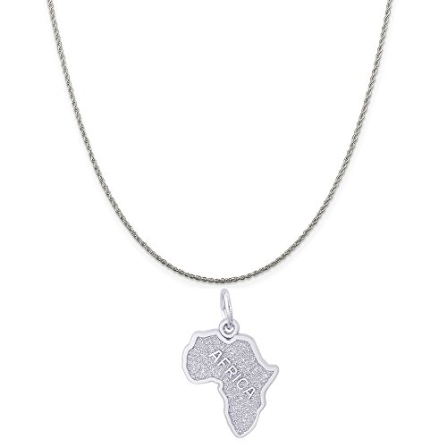 Rembrandt Charms Sterling Silver Africa Charm on a Sterling Silver Rope Chain Necklace, 18'' by Unknown