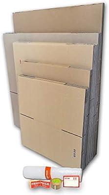 Cajeando | Pack Mudanza MEDIANO (15 Cajas + Precinto, Etiquetas y Burbujas) | Cajas de Cartón de Canal Simple, Doble y de Color Marrón | Fabricadas en España: Amazon.es: Oficina y papelería