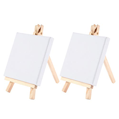 SUPVOX Mini Wood Easel with Canvas Panel for Painting Drawing Craft 10 x 10cm ()
